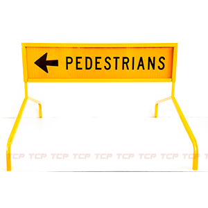 Pedsestrian Boxed Sign Edge on Bi Pod Leg Stands